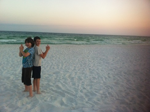 xan and jacob on beach