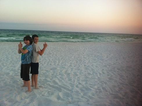 xan and jacob on beach